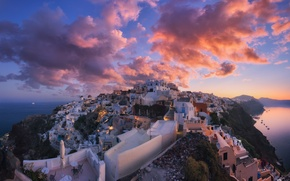 Wallpaper Santorini, Greece, the sky, clouds