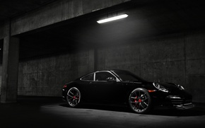 Picture car, Porsche, black, night, Carrera S