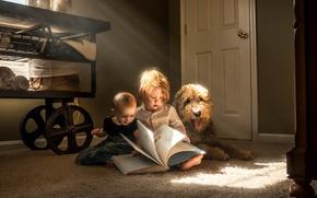 Picture children, dog, book