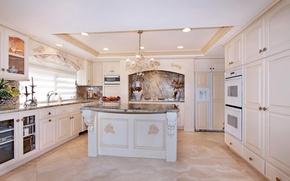 Picture white, style, interior, kitchen, chandelier, vase, headsets