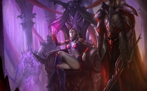 Wallpaper magic, art, crown, the throne, girl, sword, protection, the guardian, Queen, armor