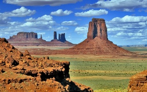 Picture the sky, clouds, mountains, rocks, USA, monument valley