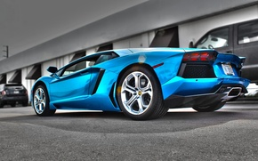 Picture blue, shadow, lamborghini, Blik, rear view, aventador, lp700-4, Lamborghini, aventador, Azure Blue