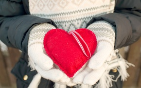 Picture winter, love, heart, love, heart, winter, mittens, romantic, sweet, hands