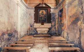Picture interior, the altar, abandoned church
