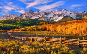 Picture autumn, forest, the sky, sunset, mountains, the fence