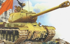 Wallpaper figure, flag, the swastika, The is-2, the second world war, tanker, heavy tank, Is-122, Joseph ...