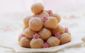 Picture sweets, donuts, cream, dessert, delicious, roses, 1920x1200, powdered sugar