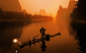 Picture boat, Japan, fisherman, Sepia