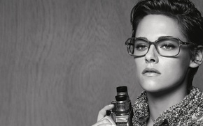 Picture look, actress, glasses, hairstyle, photographer, black and white, Kristen Stewart, Kristen Stewart, photoshoot, brand, camcorder, …