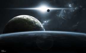 Picture the sun, surface, nebula, planet, the atmosphere