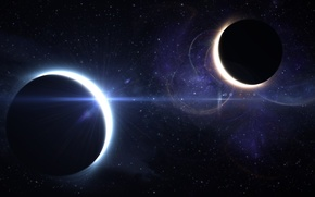 Picture stars, space, planet, Eclipse, eclipse