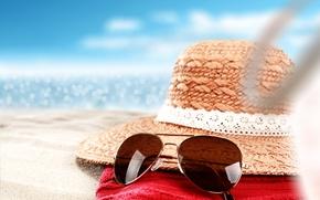 Wallpaper hat, glasses, vacation, beach, beach, sea, sand, sea, sand, summer, summer