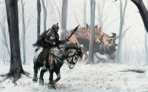 Wallpaper dragon, sword, snow, Rider, forest, armor, hunting