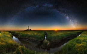 Wallpaper the sky, stars, night, lighthouse, the evening, the milky way