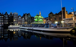 Picture the city, lights, river, night, promenade, the waterbus