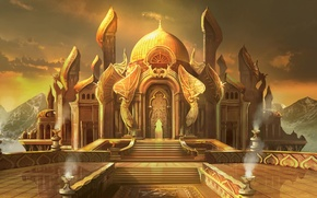 Wallpaper statues, architecture, gold, angels, Palace, the sun, wealth, the dome, Jung Park, City of Brass, ...