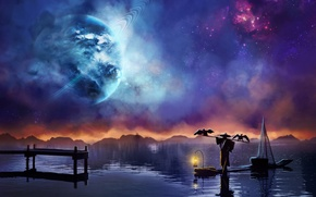 Picture stars, night, boat, planet, art, desktopography