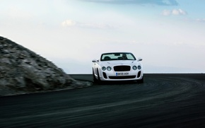 Picture Auto, Bentley, Continental, Road, White, Convertible, The front