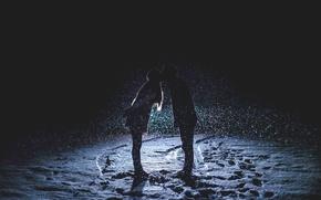 Picture Winter, Night, Kiss, Love, Snow, Light, Lantern, Pair, Twilight, Romance, Happiness, Snowfall
