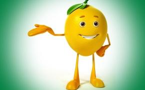 Picture look, smile, lemon, class, lemon, green background, eyes, smile, class, green background
