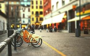 Picture bike, the city, street, blur, tilt-shift, blurred background, bike Parking
