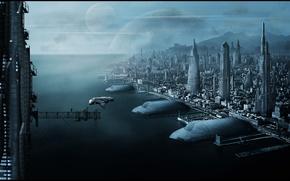Picture city, ocean, port