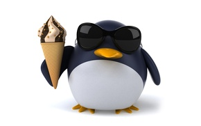 Picture penguin, character, funny, ice cream, pinguin