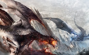 Picture rocks, smoke, sparks, fight, Dragons