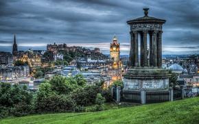 Picture trees, hills, home, the evening, Scotland, hdr, gazebo, Edinburgh