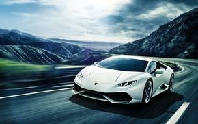 Picture Lamborghini, Front, Mountain, White, Road, Supercar, Huracan, LP640-4