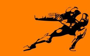 Picture orange, pose, background, robot, minimalism