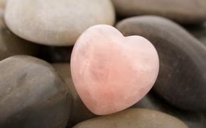 Wallpaper pink, heart, Stone