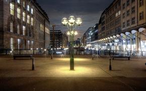 Wallpaper bridges, home, Germany, Hamburg, lights, channel, night, benches, lights