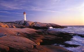 Wallpaper sea, lighthouse, Canada