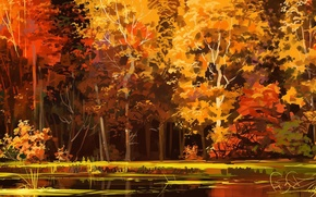 Picture autumn, forest, trees, lake, art
