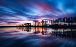 Picture the sky, clouds, trees, sunset, reflection, shore, the evening, Sweden, The Baltic sea