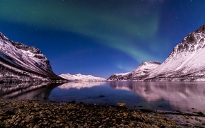 Picture winter, night, Northern lights, Norway, The Fjord Of Tromso