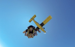 Picture the sky, smile, the plane, glasses, parachute, container, skydivers, tandem, extreme sports, parachuting