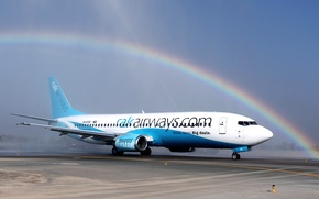 Picture The sky, The plane, Rainbow, Day, Wings, Boeing, Aviation, 737, Side view, Airliner