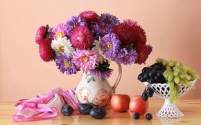 Wallpaper plum, grapes, apples, bouquet, asters