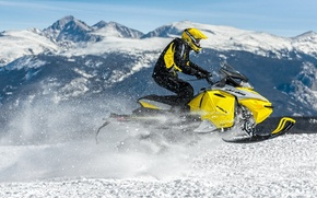 Picture Mountains, Snow, Jump, Profile, Snowmobile, Snowmobile, Ski-Doo