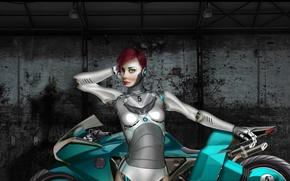 Picture girl, metal, robot, art, motorcycle