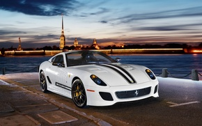 Picture lights, river, the evening, supercar, promenade, Ferrari 599 GTO, sports car, 2 seater
