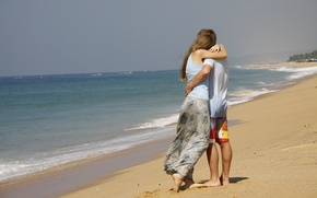 Picture sea, girl, love, background, Wallpaper, mood, pair, guy, walk