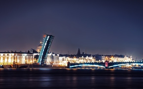 Picture night, bridge, lights, river, Russia, promenade, Peter, Saint Petersburg, St. Petersburg
