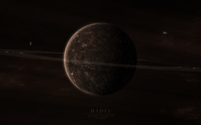 Picture surface, cracked, planet, ring, satellites, hades