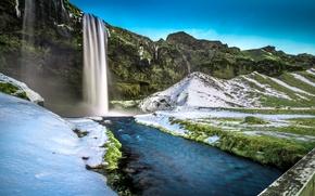 Picture grass, snow, bridge, rocks, waterfall, Iceland, Seljalandsfoss Waterfall