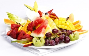 Picture apple, Apple, orange, watermelon, kiwi, strawberry, grapes, fruit, mango, grape, orange, strawberry, watermelon