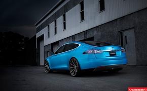 Picture back, beautiful, drives, blue, blue, Tesla, Model S, 22 inch, Vossen wheels, VVS-CV1, electric car